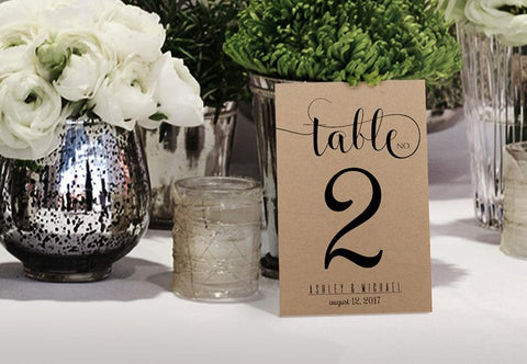 Rustic Glitz Calligraphy Table Number - Printed on Kraft - Printable