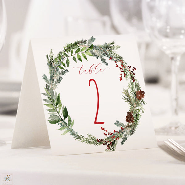 Christmas Winter Table Number Template Evergreen Wreath Tent Editable Pdf