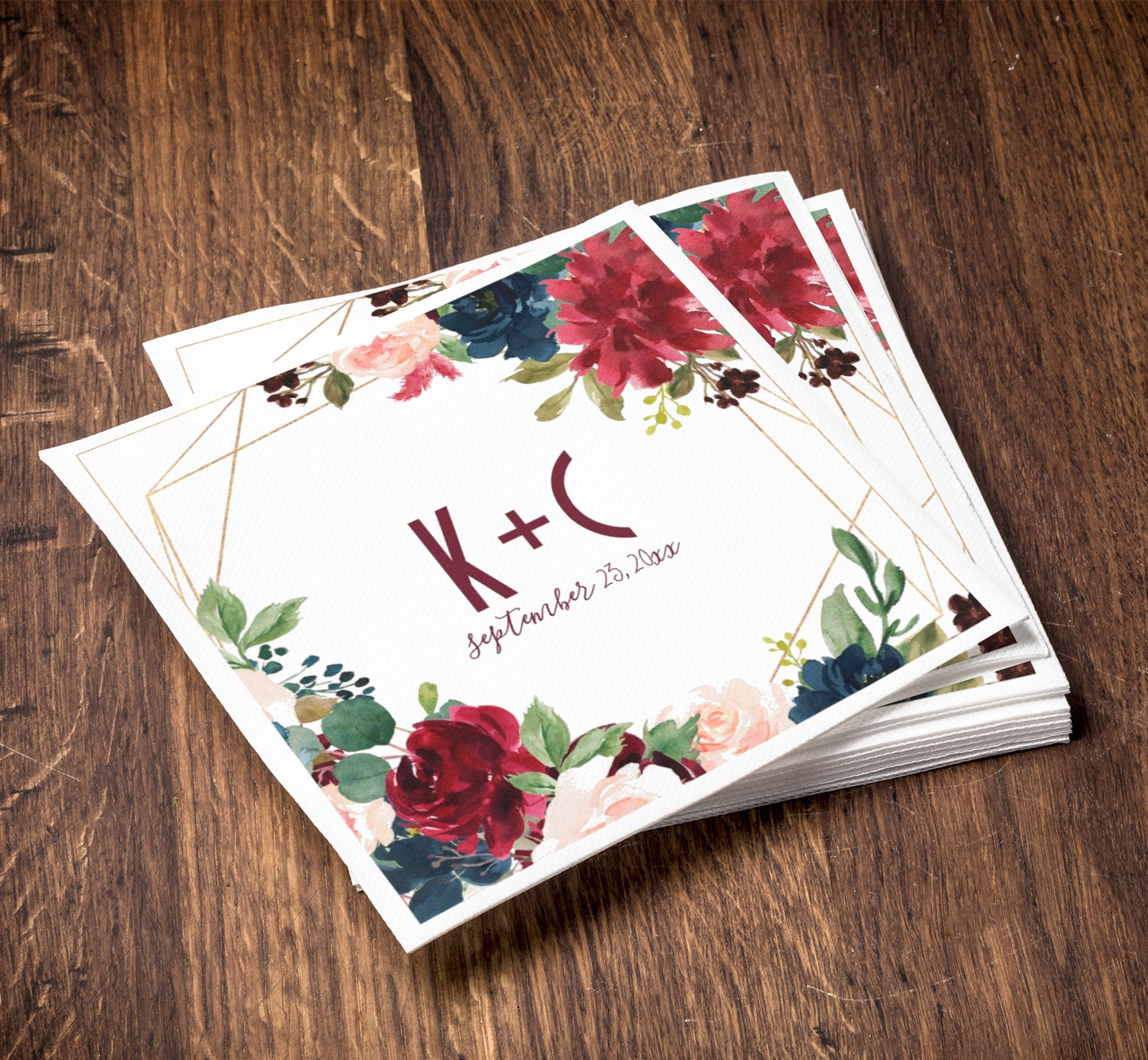 Wedding Napkins Burgundy Navy Watercolor Floral Custom Printed