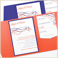 blue orange wedding pocket invitation kit