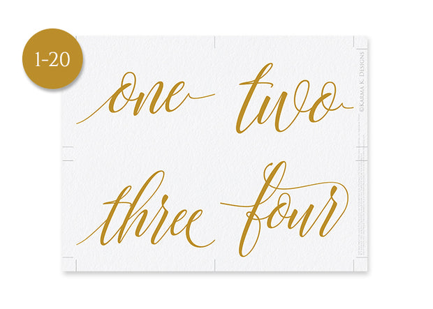 picture about Table Numbers Printable titled Luxe Calligraphy Printable Desk Figures 3.5 X 5 Flat