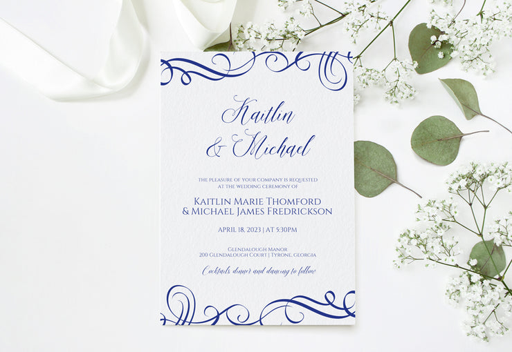 wedding invitation template 5 x 7 elegant swirls royal blue ed