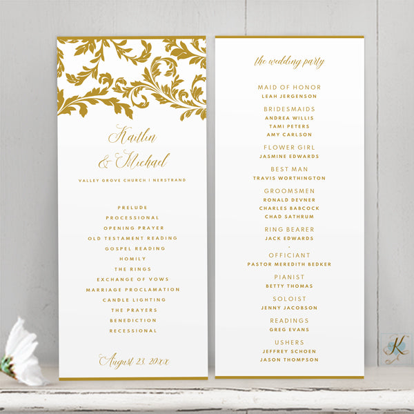 Wedding Program Template (Editable PDF) | Flourish | Tea-Length (Tall)