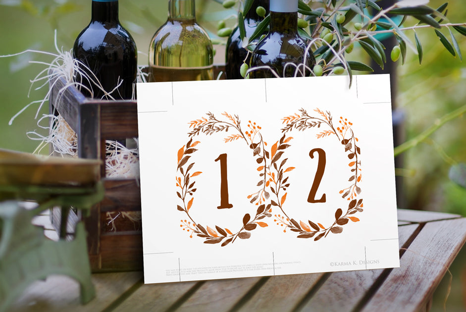 painted thanksgiving    fall wreath table number pdf