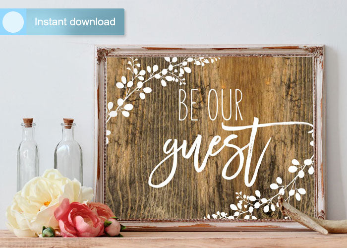 picture about Be Our Guest Printable titled Printable Wall Artwork Visitor Area Decor Be Our Visitor (Phony Picket) 8 x 10 (Portrait)