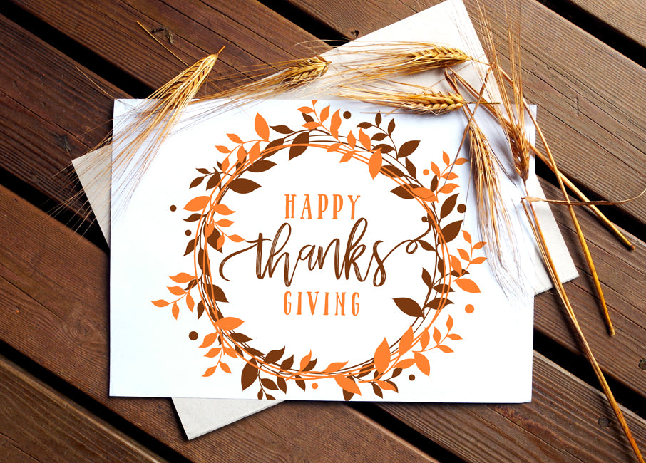 graphic relating to Printable Thanksgiving Cards called Printable Thanksgiving Indication or Card (5 x 7) Berry Wreath (Brown Orange)  PDF