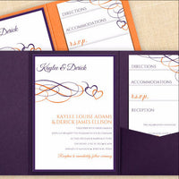 eggplant orange wedding pocket template