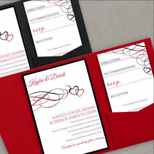 red wedding invitation template