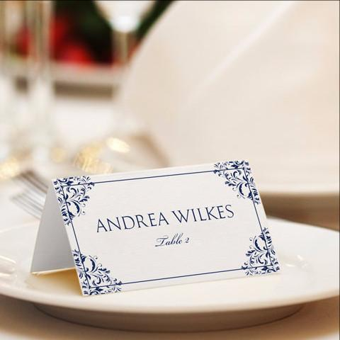 vintage navy place card template