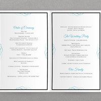 Foldover Wedding Program Template | Beloved (Black & Malibu)