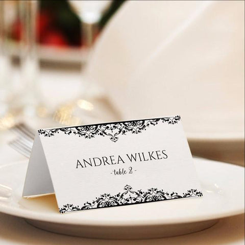 black place card template