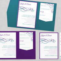 Purple & Green Wedding Pocket Template