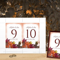 Painted Fall Leaves Table Number - Thanksgiving