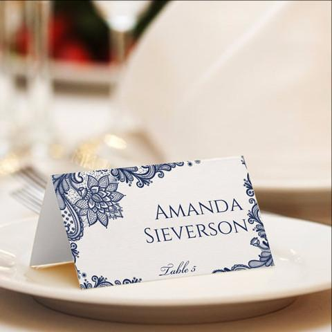 Navy Lace Place Card Template