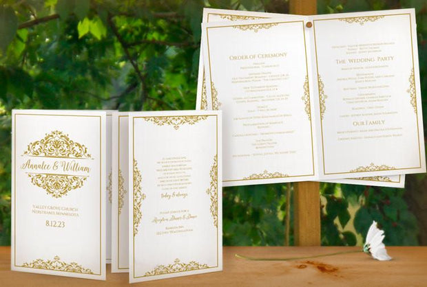 natalia gold wedding program booklet foldover template