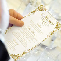 gold wedding menu printable