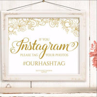 Instagram Sign Template - Gold