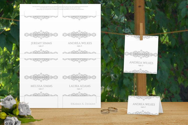 gray wedding place card template