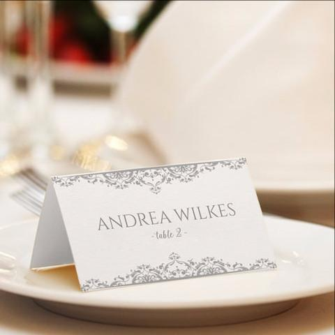 wedding template vintage place card gray