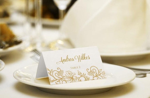 Gold Wedding Place Card Template - Editable Text