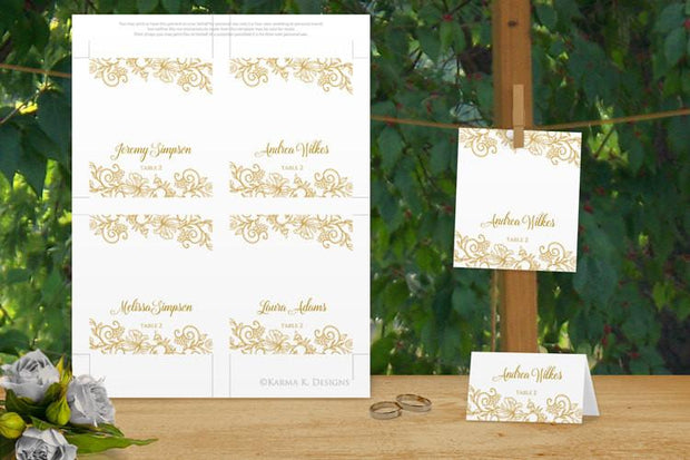 Wedding Seating Card Template - Vintage Bouquet - Gold