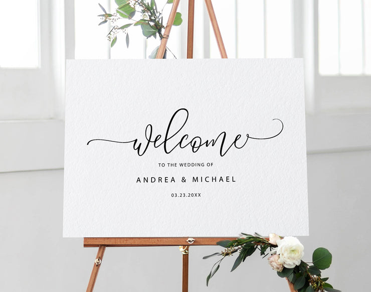 Wedding Welcome Sign.Wedding Welcome Sign Poster Bounce Calligraphy Editable Color Templett