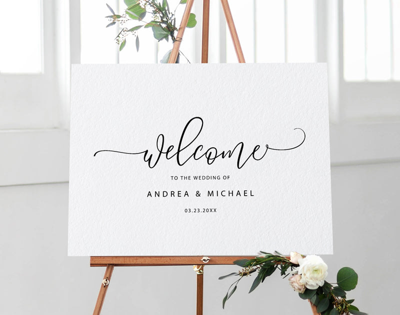 Wedding Welcome Sign Poster | Editable PDF Template | Bounce Calligraphy (Black), _tab1_delivery, Black, Editable PDF