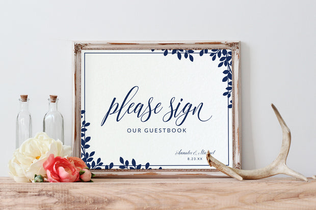 Wedding Guestbook Sign PDF | 8 x 10 | Leaf Frame (Navy Blue)