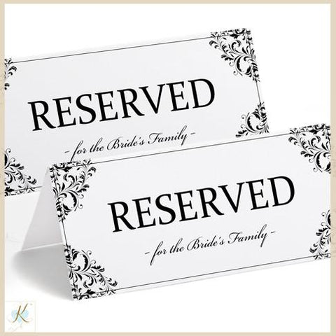 Printable reserved sign tent nadine black for Table reservation card template