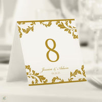 gold wedding table number template
