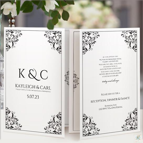 Wedding Program Template Nadine Black Foldover