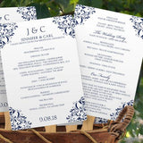 navy wedding program fan template
