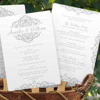 silver wedding program fan template