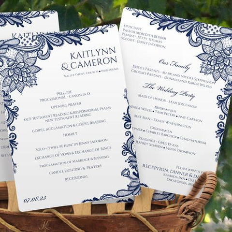 navy lace wedding program fan template