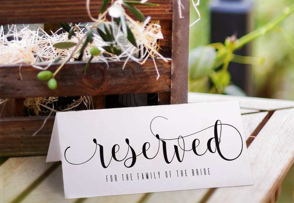 Printable reserved sign glitz calligraphy black for Reserved seating signs template