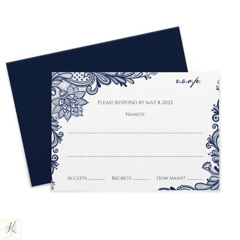 navy lace wedding rsvp card template