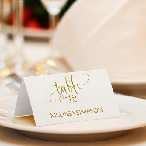 Gold Calligraphy Place Card Template