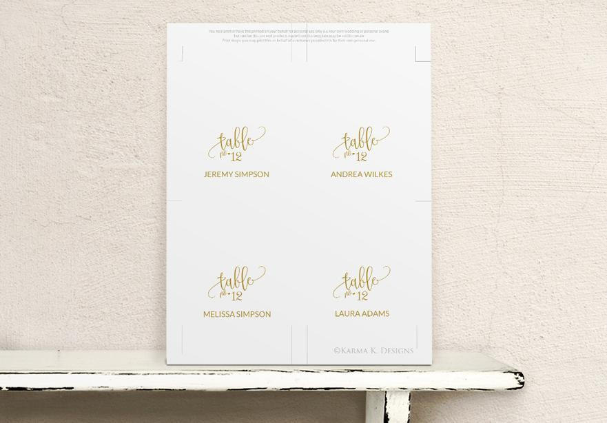 rustic calligraphy wedding place card seating card template gold. Black Bedroom Furniture Sets. Home Design Ideas