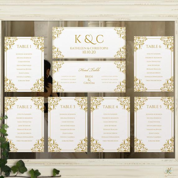 Printable Seating Chart Template | Nadine (Gold)