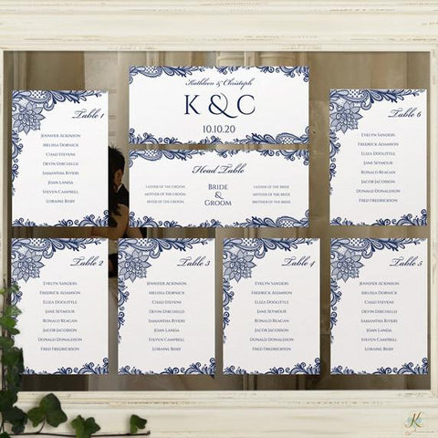 lace seating chart template - printable