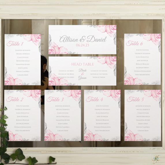 printable seating chart template watercolor bouquet pink gray
