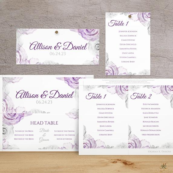 printable seating chart template watercolor bouquet purple gray