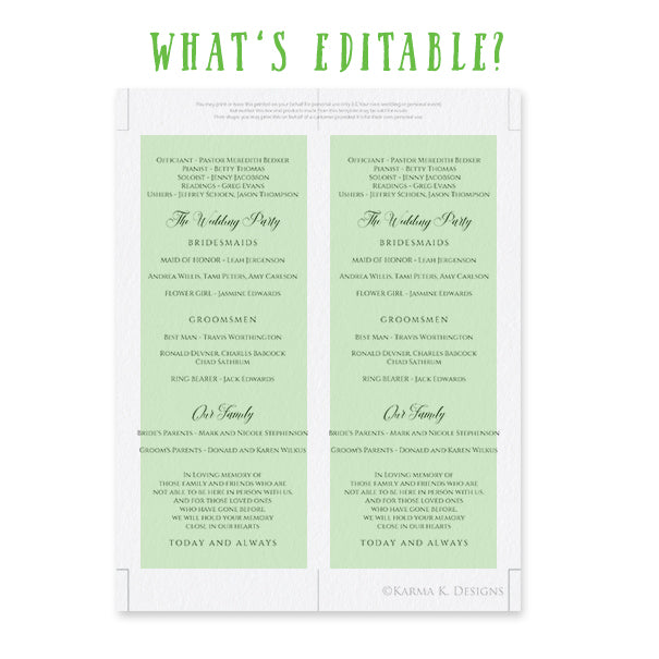 Sketched Calligraphy Wedding Program Template Editable Pdf Instant