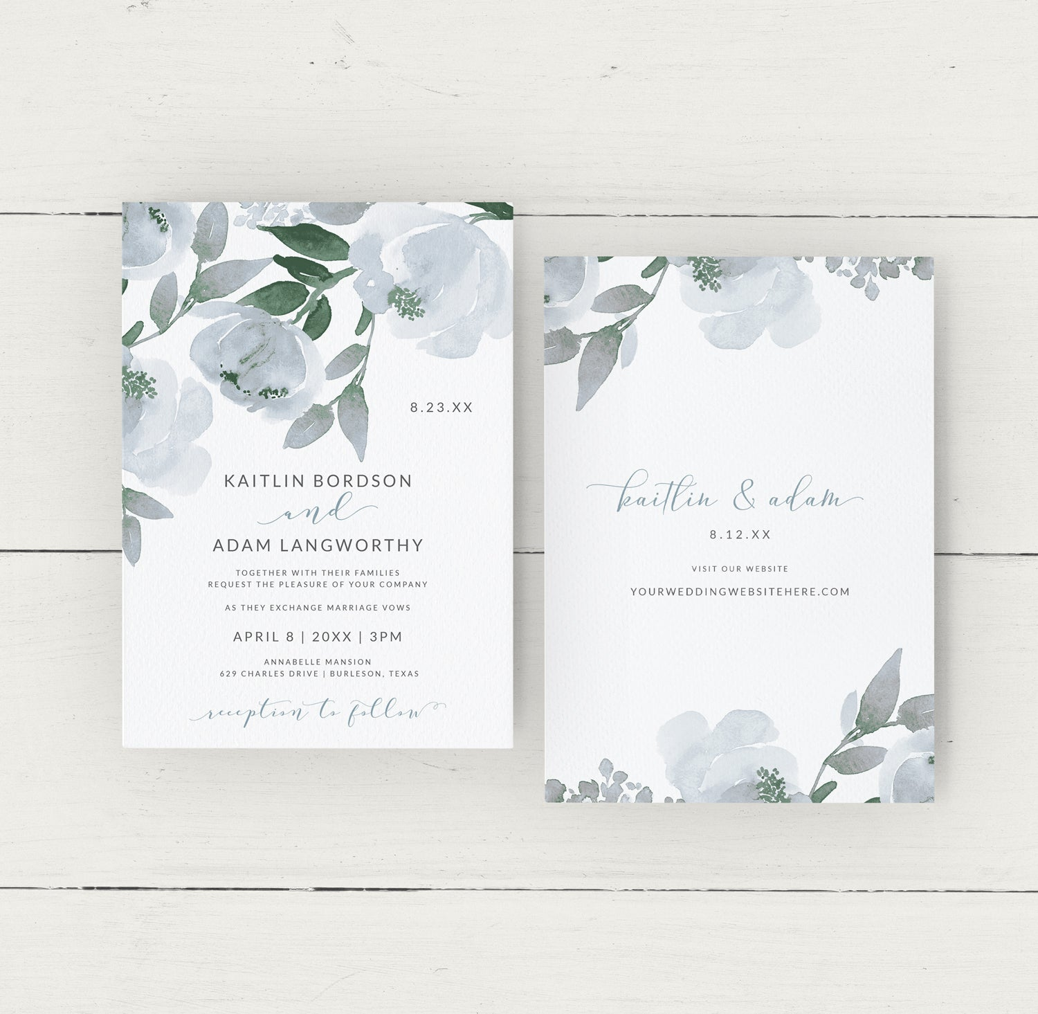 Wedding Invitation Template Suite Set  Dusty Blue Download & Print