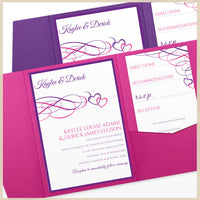 pocket wedding invitations - purple pink