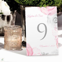 table number template - watercolor bouquet - pink & gray