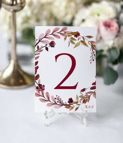 Painted Table Numbers - Burgundy Wreath