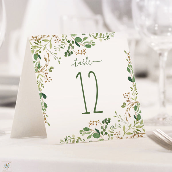 table number tents template chic greenery editable pdf