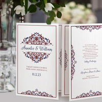 Burgundy / Maroon & Navy Wedding Program Template - Printable