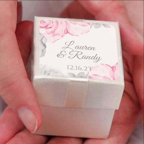 Label Or Favor Tag Template Watercolor Bouquet Pink Gray 2x2
